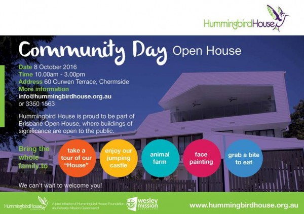 Hummingbird House Community Day, as part of Brisbane Open House